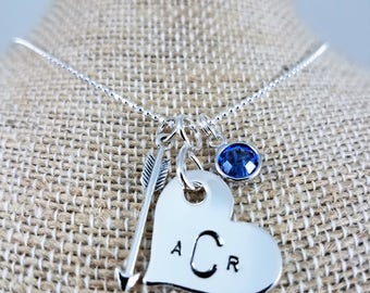 Arrow, Heart & Birthstone Charm Necklace; Sterling Silver; Hand-Stamped; Custom