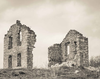 Ruins, Photo, Wall Art, Black and White, Sepia,Wisconsin