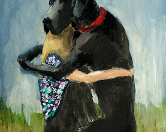 Best Friend - pet portrait, figure painting, Giclee art print