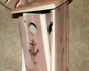 Cedar Bird House With Brass Anchor-Outdoor Birdhouse-Front Door Clean out-3 Ways To Hang Hardware Included-Ready To Ship-Made In The USA