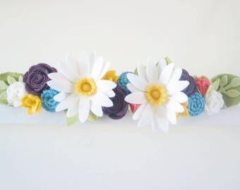 """Felt Flower Crown Headband """"Daisy"""""""