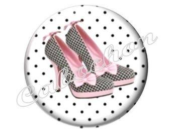 4 cabochons 16mm glass slipper shoe fashion