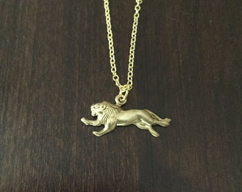 Gold lion necklace etsy lion necklace gold lion necklace lion gold lion lion jewelry lion aloadofball Choice Image