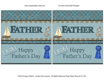 Printable Digital Father's Day Hershey Candy Bar Wrapper- Dad - Best Father - Sailing - Sailboat - chocolate wrapper