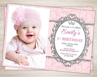 Princess First Birthday Invitation. Pink Silver Princess Birthday Invitation. Girl 1st 2nd 3rd Birthday Invitation. Princess birthday invite