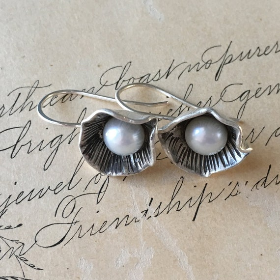 Mothers Day Jewelry, Silver and Pearl Drop Earrings, Organic Pearl, Carved Silver, Wabi Sabi Jewelry