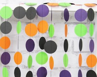 Halloween Garland - Orange Black Purple Green Paper Garland - Halloween Party Decor - Fall Decoration