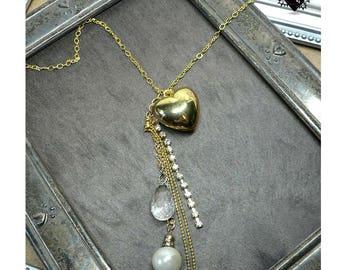 Gold Heart and Diamond Locket