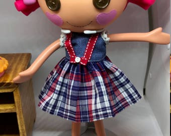 Handmade Dress for Lalaloopsy Doll // Full Size Big Sister // Doll Clothes // Stocking Stuffer // Under 10 // For Girls // Schoolgirl