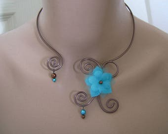 Necklace Turquoise/chocolate/brown / brown p dress of bride/wedding/party/ceremony/cocktail/flower beads.