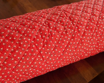 Pre-Quilted Daisy Garden- Vintage Fabric Mod Flowers Juvenile Floral Novelty Red Calico