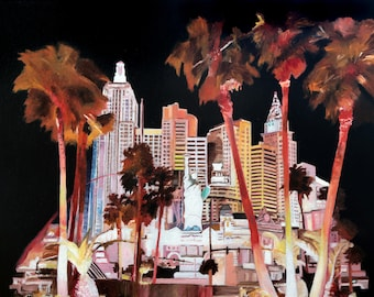 New York-New York Hotel & Casino in Las Vegas (oil painting, 2017)