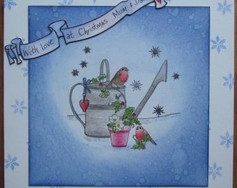 "Handmade ""With love at Christmas Mum & Dad"" - 7x7 base card. Blank inside."