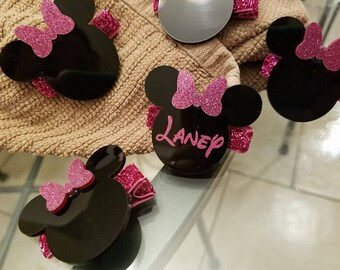 Personalized Mrs Mouse Hair Clips (Pink, Blue, Gold)