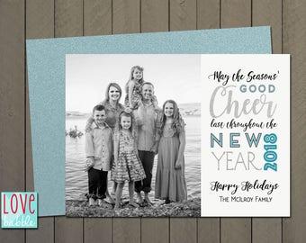 New Year's Christmas Holiday Hanukkah Photo Card,  - PRINTABLE DIGITAL FILE - 5x7