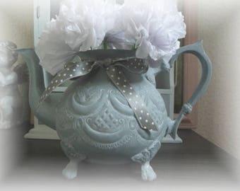 Old iron grey white vintage teapot