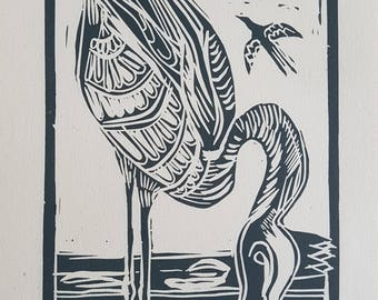 lino print, flamingo, flamingo art, flamingo print, blue grey, crown, gift, silver flamingo, flamingo, lino print, affordable art, art