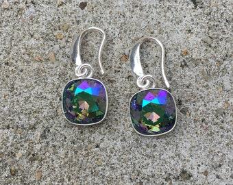 Earrings in silver Sterling and Swarovski Vitrail Medium.