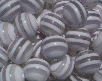 White Stripe 20mm Beads 10 bead count