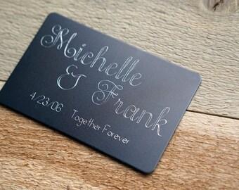 Engraved Metal Couples Wallet Card CUSTOM