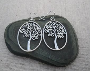 Silver Tree Earrings - Tree of Life Jewelry - Tree of Life Earrings - Whimsical Tree Jewelry