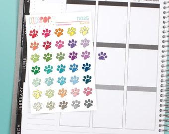 Paw Print Stickers, Paw Print Planner Stickers, Vet Appointment Stickers, Vet Appointment - D025