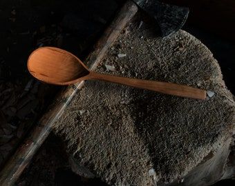 """10"""" cooking spoon, wooden spoon, serving spoon, hand carved by the """"large apprentice"""""""
