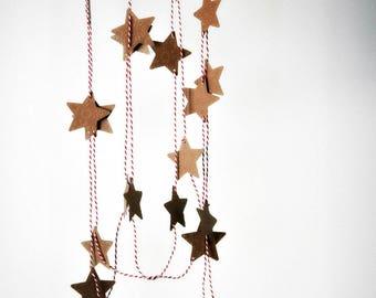 Rustic Star Garland | Embossed Kraft Star Garland | Star Garland | Paper Decoration | Holiday Decor | Gift under 20 | Christmas Garland