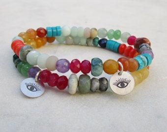Multi gemstone evil eye bracelet, rainbow stone eye bracelet, colorful bead bracelet, multicolor stone bracelet with sterling silver charm
