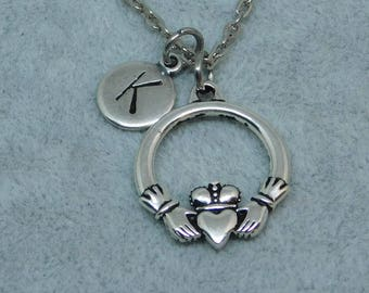 Silver Claddagh with Initial necklace, initial charm, claddagh charm, claddagh pendant, irish symbol, irish jewelry