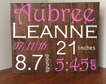 Birth Announcement Wall Art//Birth Announcement Sign//Baby Name Sign//Newborn Birth Stats//Baby Name Art//Baby Gift//Nursery Decor