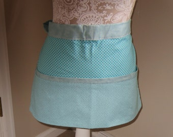 Woman's utility apron in turquoise and gray