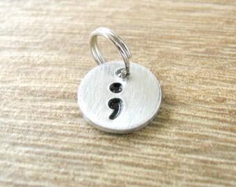 Semi Colon charm, semi colon pendant, semi colon disc, semi colon symbol, punctuation, hand stamped, aluminum or copper