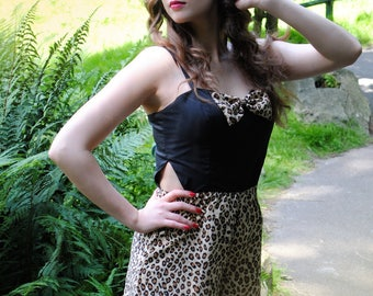 Playsuit / retro playsuit / pin in black cotton and middle - all sizes
