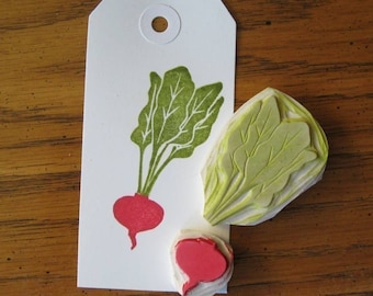 Hand Carved Beet Rubber Stamp