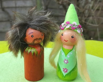Waldorf Elf Parent pegdolls, Mother and Father wooden dolls, Loving Couple.