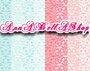 80% OFF SALE Digital Papers Damask 2 - digital paper pack, Card Design, wallpaper, damask background, damask pattern