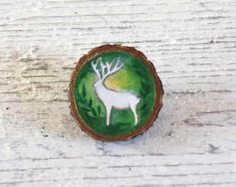 White Stag - wooden handpainted brooch.