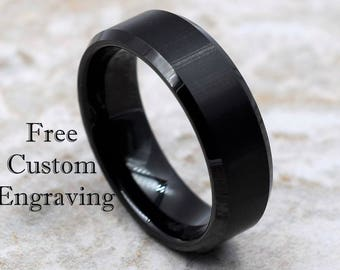 Tungsten Ring, Menu0027s Tungsten Wedding Band, Menu0027s Black Wedding Band, Black  Tungsten Ring, Tungsten, Tungsten Band, Personalized Ring
