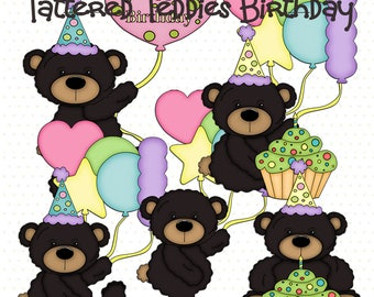 Tattered Teddies Birthday - Digital Clipart Images for Scrapbook & Paper Crafts
