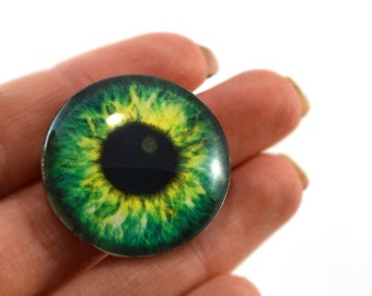 Glass Eye Cabochon 30mm Bright Green Fantasy Steampunk Eye for Pendant Jewelry Making or Taxidermy Doll Eyeball Flatback Circle