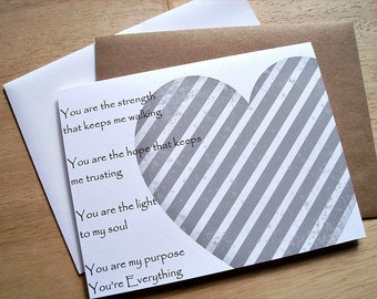 You're Everything - Valentine's Day Card, Anniversary, Love You, Engagement, Rustic Grey Chevron Heart, Lifehouse Song Lyrics, Everything