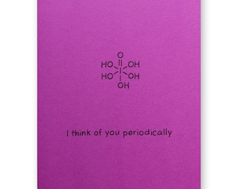 Think Of You Periodically Card - Nerd Valentine Card - Chemistry Love Card - Science Geek - Anniversary Card
