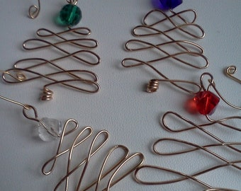Wire and Crystal Christmas Tree Ornament