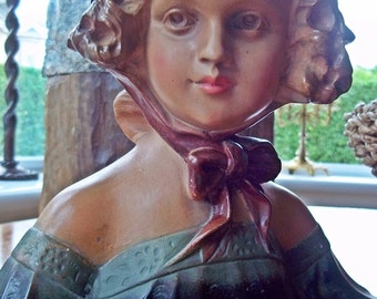 "Bust, Vintage Bust, French Figurine, French Bust, Statuette, the literary character, ""Cosette"" from Victor Hugo's Les Miserables"
