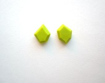 Little Green Earrings, Spring Green Studs, Faceted Post Earrings, Silver Post Earrings, Handmade Jewelry, Mismatch Earrings, Asymmetrical