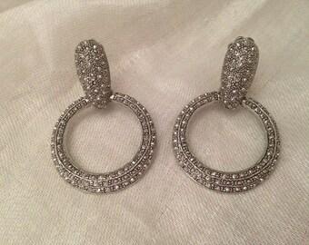 Vintage Marcasite Silver Tone Clip Earrings | Door Knocker Style |