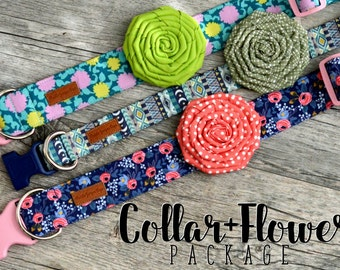 Any Dog Collar + Flower Package - please note the pattern(s) of your choice at checkout
