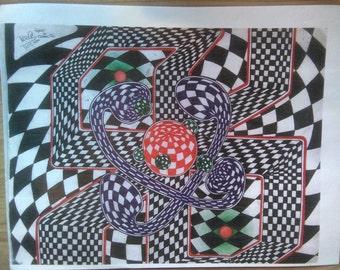 psychedelic fascist checker funnels art print