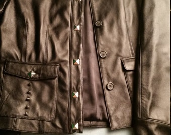 Faux Leather Pleather Military Style Stud Spike Jacket